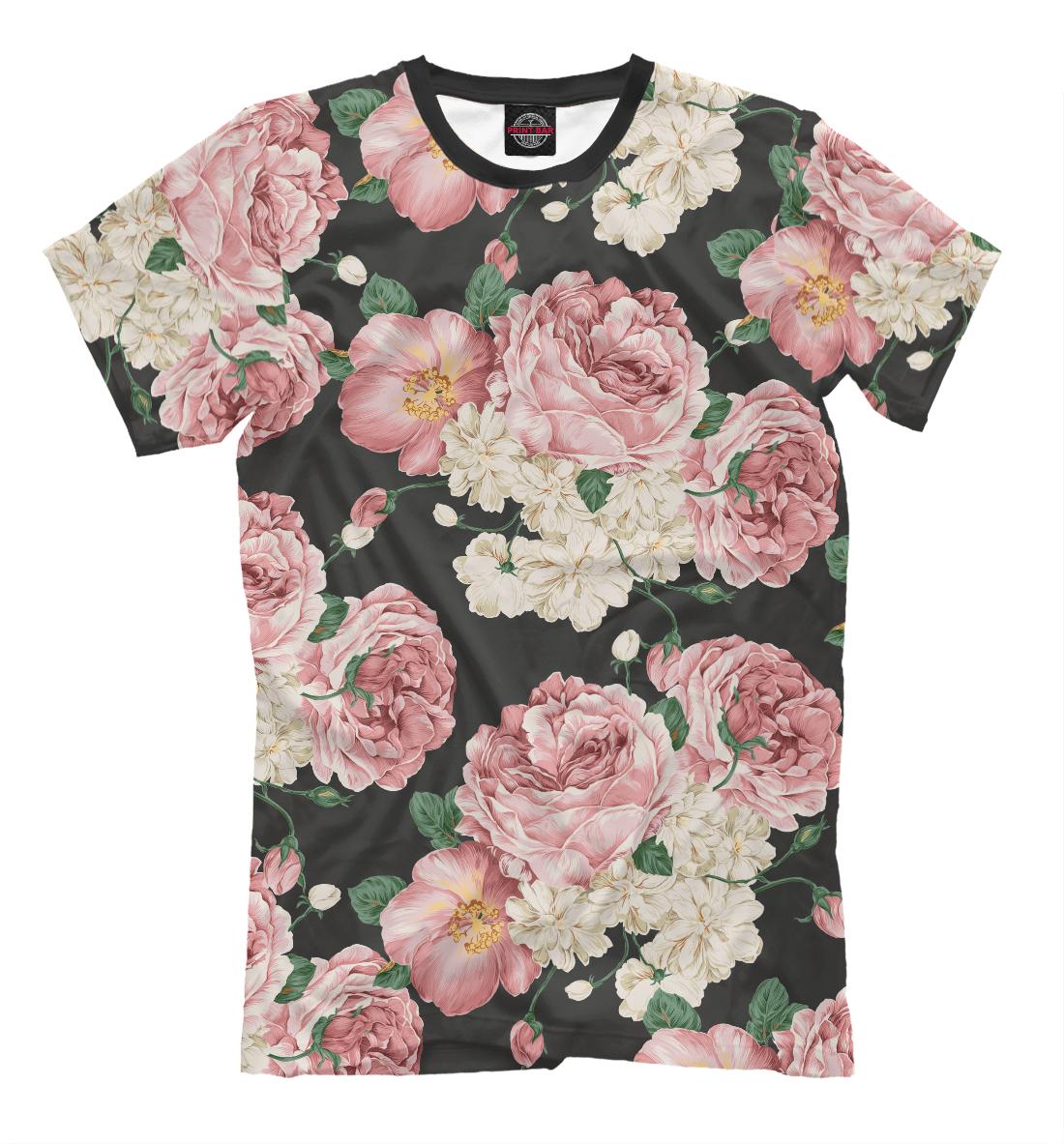 «Пионы на черном» — футболка мужская, артикул: CVE-640894-fut-2